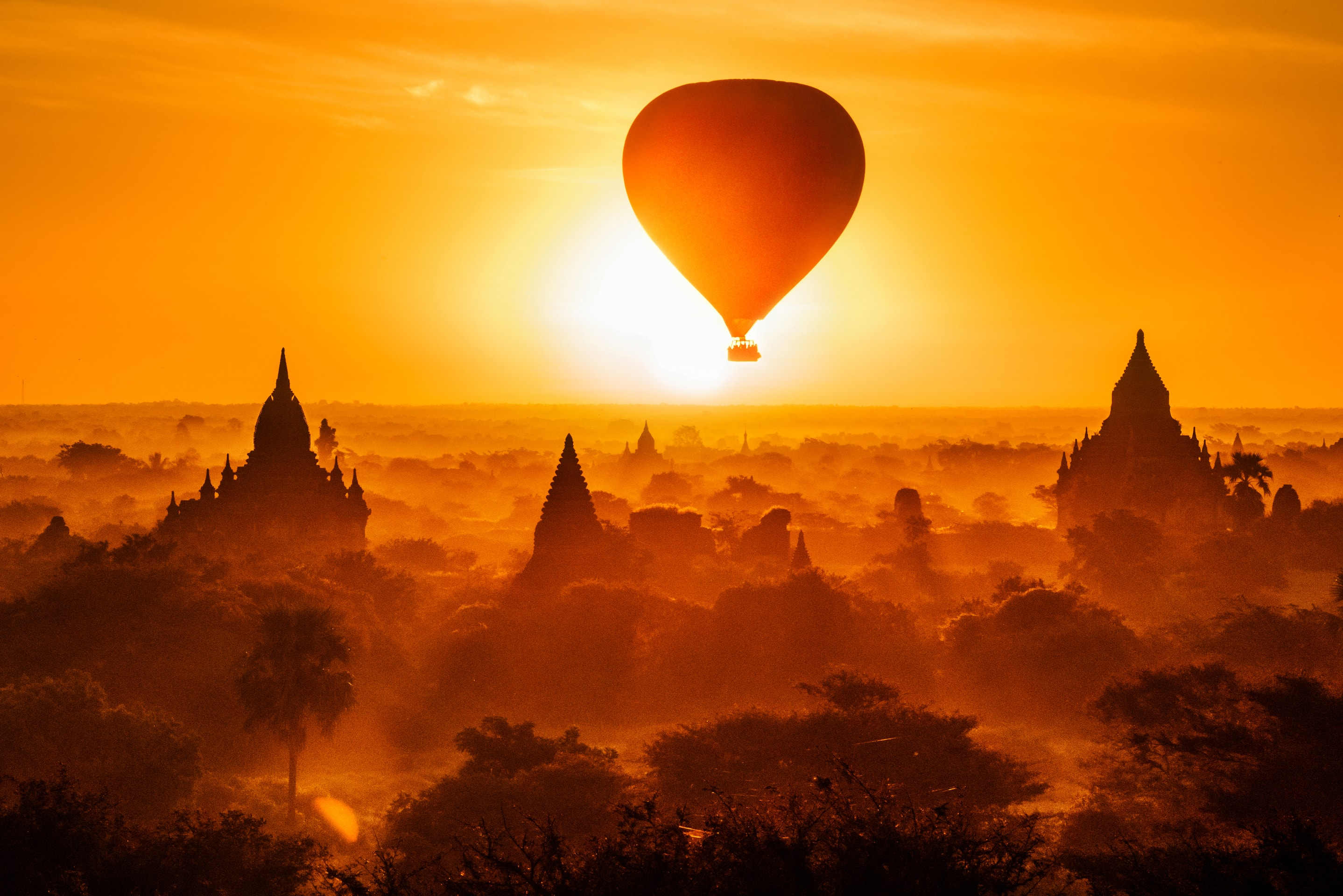 Fine Art Print by Karmen Harley - A Hot Air Balloon Eclipse The Rising Sun Myanmar