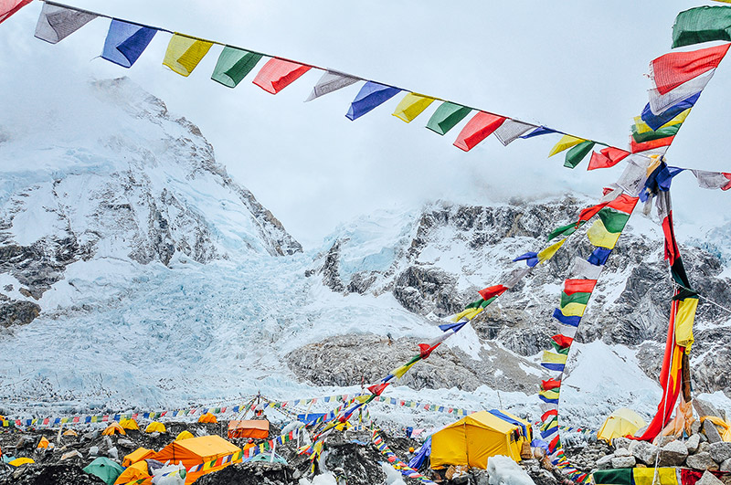 Bright Flags and colorful tents adorn Mount Everest Base Camp, Nepal