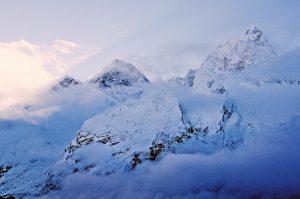 The sun rising over Mount Everest. Mount Kala Patthar, Nepal